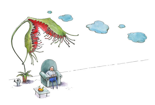 the fat man sleeps in a large blue armchair. a flower drosera rotundifoliaw tries to eat a man - old man sitting chair clip art stock illustrations, clip art, cartoons, & icons