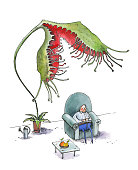 The fat man sleeps in a large blue armchair. A flower Drosera rotundifoliaw tries to eat a man