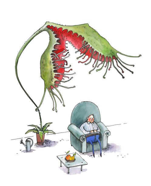 the fat man sleeps in a large blue armchair. a flower drosera rotundifoliaw tries to eat a man - old man sleeping silhouettes stock illustrations, clip art, cartoons, & icons
