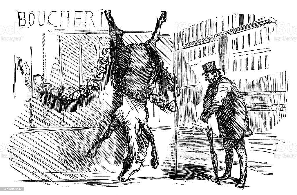 The fate of a winning racehorse - horsemeat vector art illustration