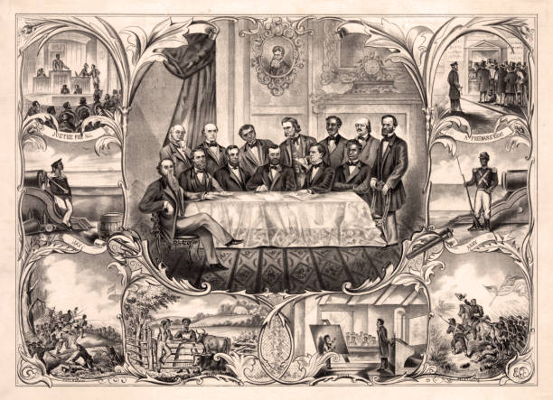 The Fifteenth Amendment to the U.S. Constitution Vintage illustration features President Ulysses S. Grant sitting at the center of a large table, signing the 15th amendment, granting that the right to vote cannot be denied on basis of race or color. The amendment granted African-American men the right to vote and was adopted into the U.S. Constitution in 1870. suffragist stock illustrations