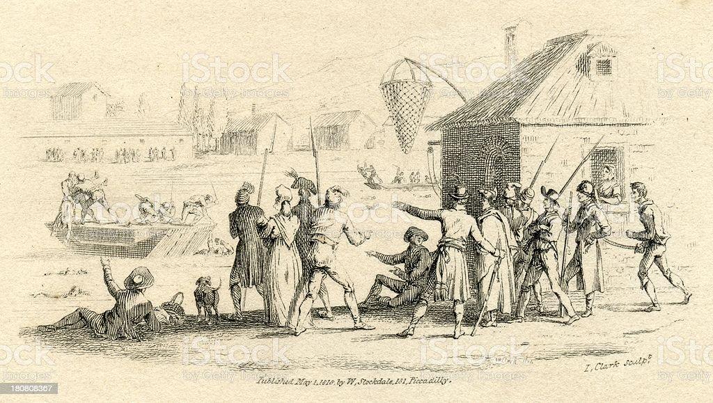 Nantes drownings French Revolution 19th century engraving vector art illustration