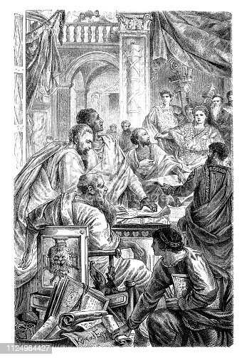 Illustration of The First Council of Nicaea, by the Roman Emperor Constantine I in 325 AD