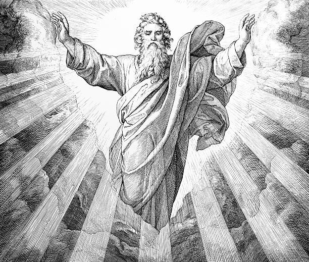 pierwszy dnia utworzenia - bóg stock illustrations