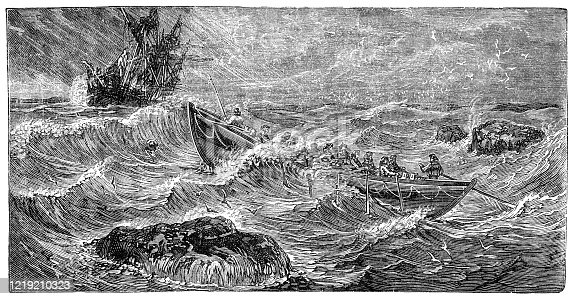 The first lifeboat, designed by Lionel Lukin from a yawl boat in 1784. Vintage etching circa 19th century.