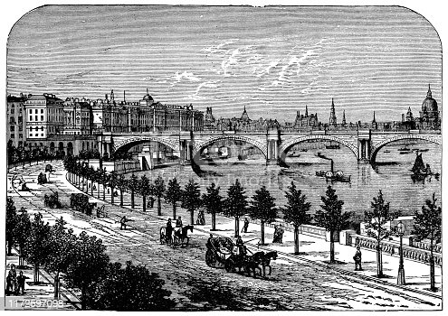 The First Waterloo Bridge at the Thames Embankment in London, England. Vintage etching circa late 19th century. It was closed in the 1920s due to damage and rebuilt in the 1930s.