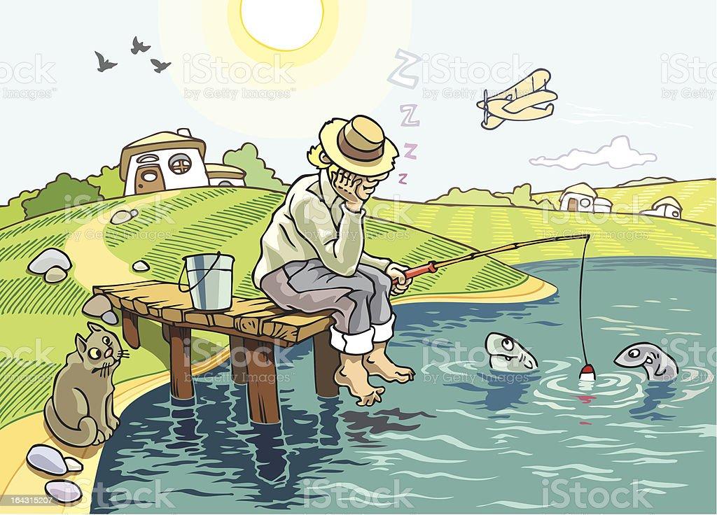 The Fishing vector art illustration