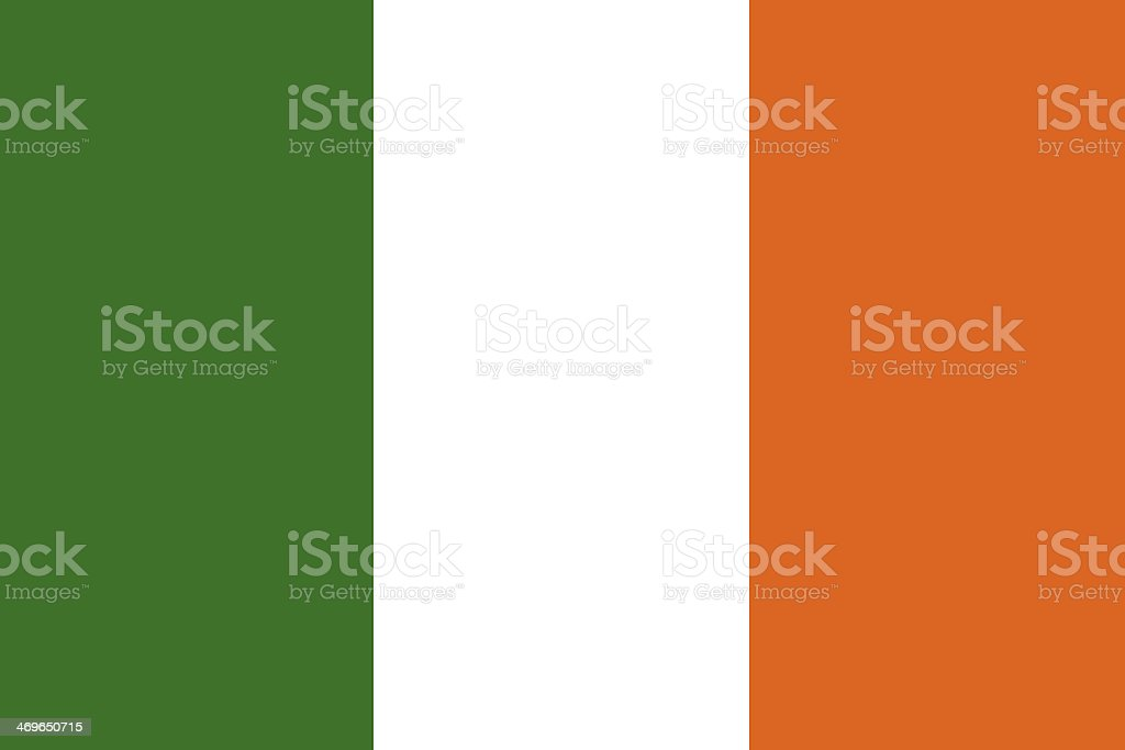 The flag of Ireland in green, white and orange vector art illustration