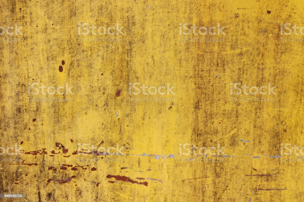 The flaking yellow color with scratched on the surface of rusty galvanized iron plate may be used as background vector art illustration