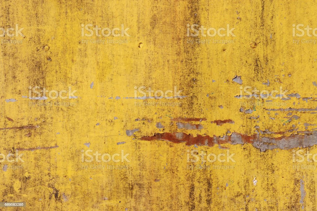The Flaking Yellow Color With Scratched On The Surface Of Rusty ...