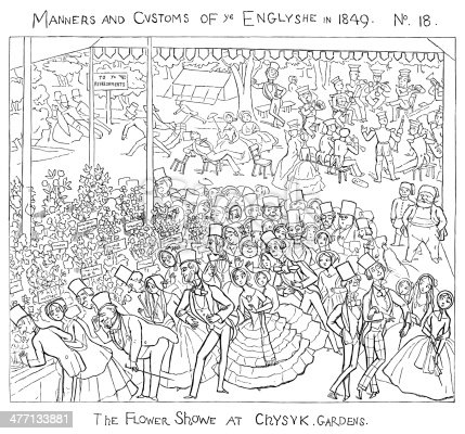 """The flower shows held in Chiswick Gardens from 1827-1857 were one of the highlights of the London season. One of a series of comic cartoons of various aspects of English manners, society and customs from """"Manners and Customs of Ye Englyshe - Mr Pips hys Diary"""" drawn by Richard Doyle. Published by Bradbury & Evans, London, 1849."""