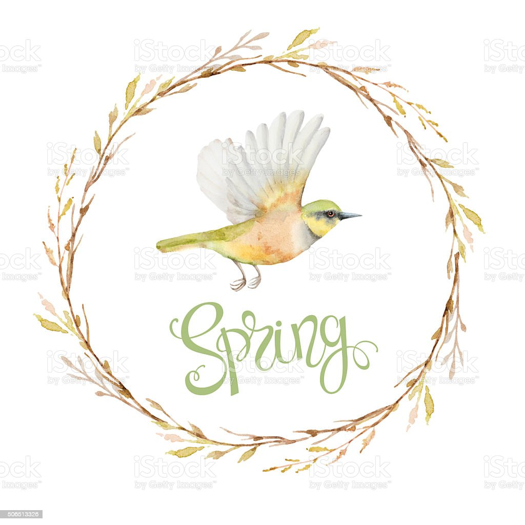Ilustración de El Vuelo Pájaro En El Bastidor De Circular y más ...