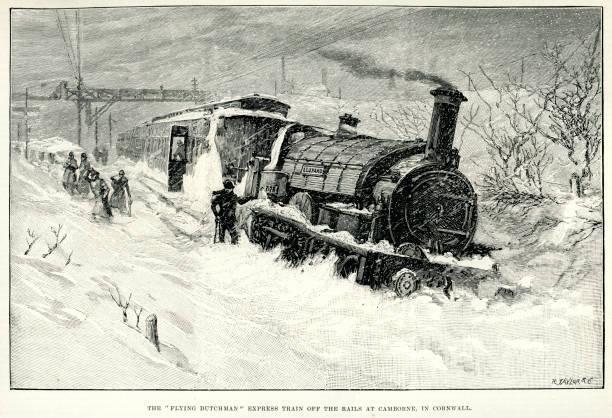 bildbanksillustrationer, clip art samt tecknat material och ikoner med the flying dutchman express train - derail
