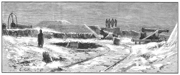 The Fort Mont-Valérien is a fortress in Suresnes, a western Paris suburb, built in 1841 as part of the city's ring of modern fortifications. It overlooks the Bois de Boulogne Illustration of a Mont Valerien at the time of the Franco-Prussian War bois stock illustrations