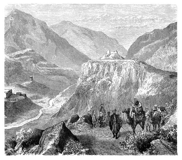 the fort of ali masjid in the khyber pass, 1908 - bedouin tent stock illustrations, clip art, cartoons, & icons