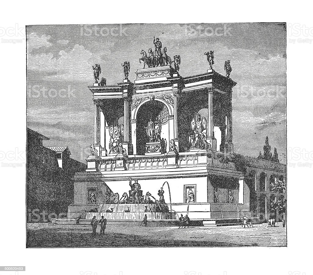 The fountain of Alexander Severus at Rome (antique engraving) vector art illustration