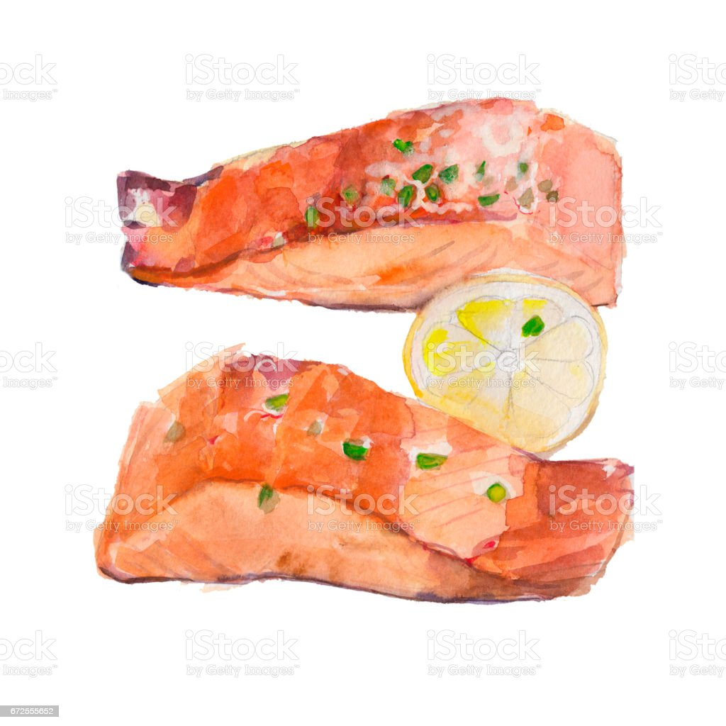 The fried slice of salmon with a lemon isolated on white background, watercolor illustration in hand-drawn style. vector art illustration