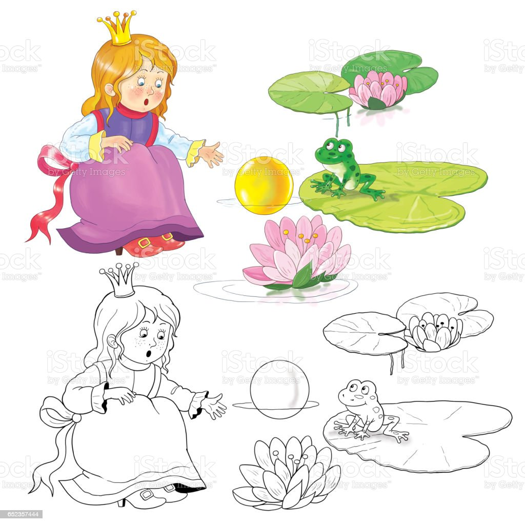 The Frog Prince Fairy Tale Illustration For Children Coloring Page ...