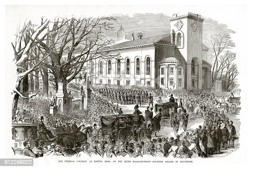 Engraving of the The Funeral Cortege at Boston, Massachusetts of the Soldiers Killed at Baltimore Civil War Engraving from