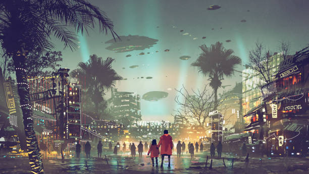 the futuristic city with colorful light vector art illustration