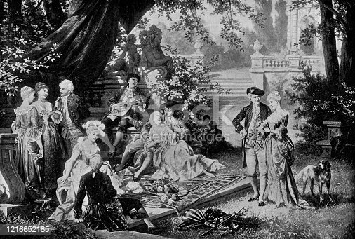The Garden of Love by Carl Schweninger the Younger (circa 19th century). Vintage etching circa late 19th century.