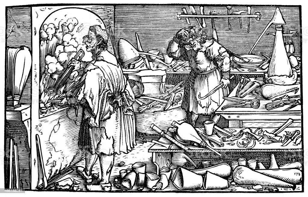 The German Alchemist vector art illustration