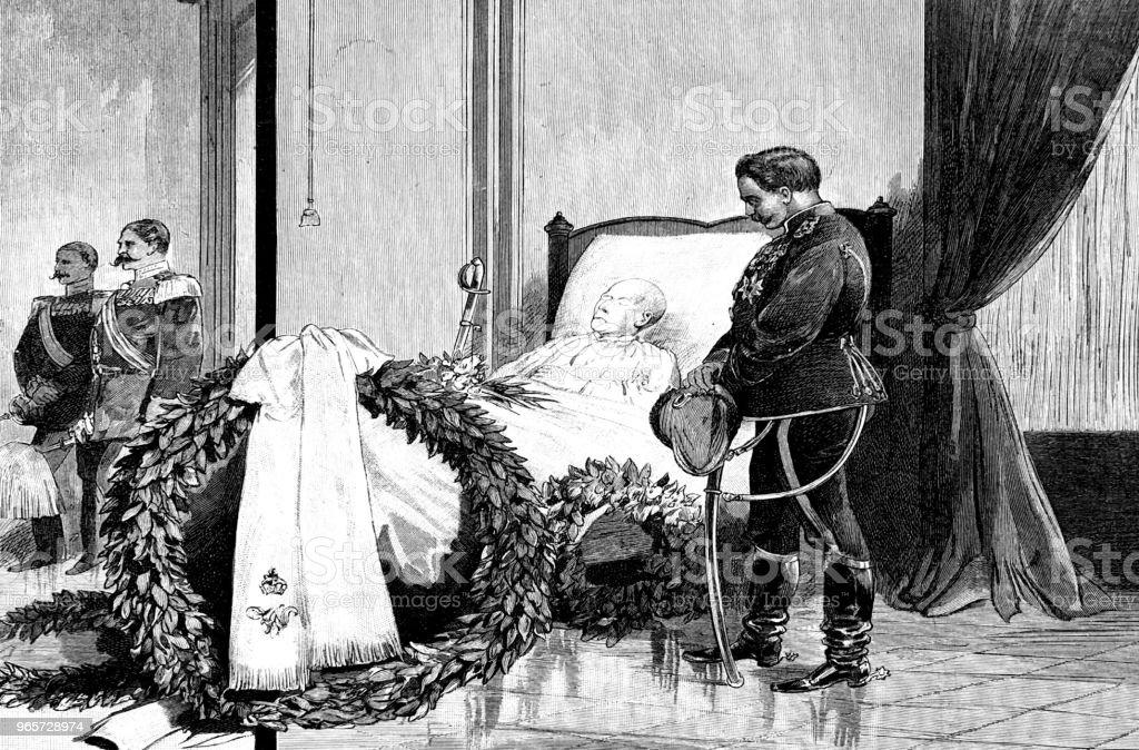 The German Emperor at the deathbed of Count von Moltke - Royalty-free 1890-1899 stock illustration