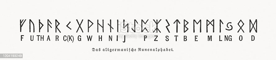 The Germanic rune alphabet. Wood engraving, published in 1897.
