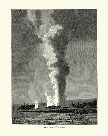 Vintage illustration of The Giant Geyser, Yellowstone, 19th Century. Giant Geyser is a cone-type geyser in the Upper Geyser Basin of Yellowstone National Park in the United States.