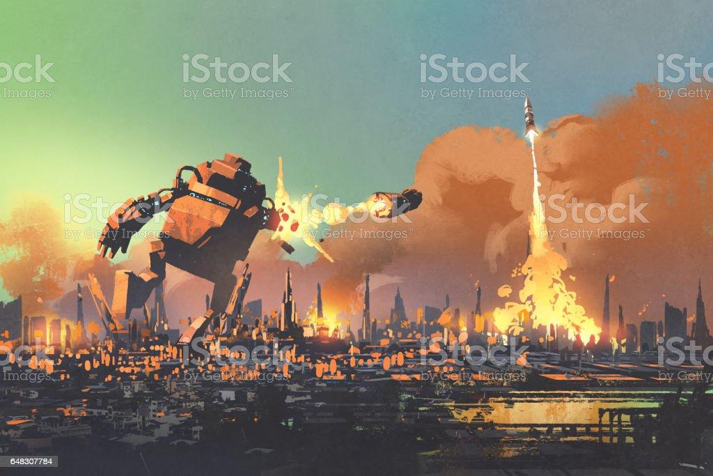 the giant robot destroy the city vector art illustration