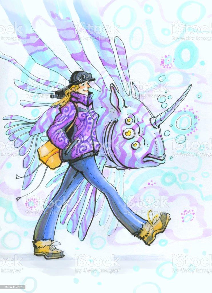 Ilustración De La Chica De Jengibre Con Peces Unicornio Debajo Del