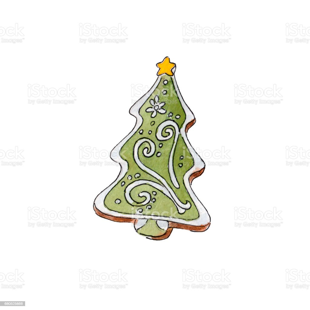 The gingerbread fir tree on white background, watercolor illustration in hand-drawn style. vector art illustration