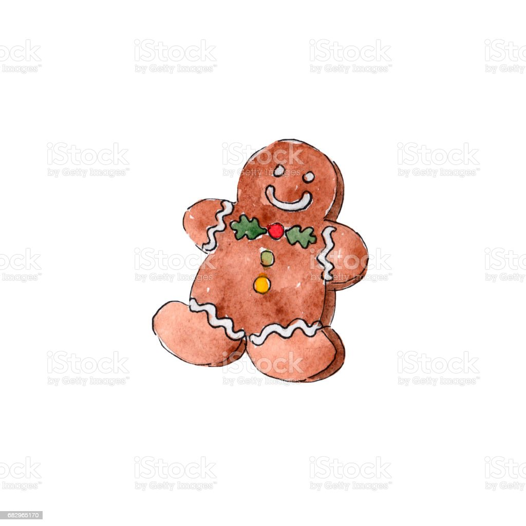 The gingerbread man on white background, watercolor illustration in hand-drawn style. royalty-free the gingerbread man on white background watercolor illustration in handdrawn style stock vector art & more images of adult