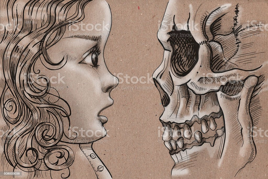 The Girl and Death vector art illustration