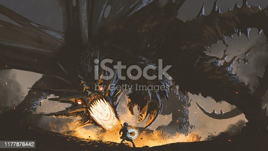 istock the girl fighting the legendary dragon 1177876442