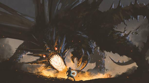 the girl fighting the legendary dragon fantasy scene showing the girl fighting the fire dragon, digital art style, illustration painting fantasy stock illustrations