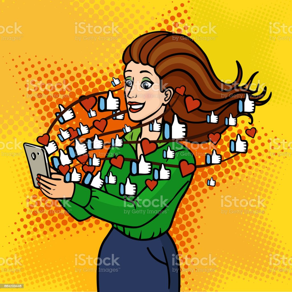 The girl gets to like and hearts in social networks. A beautiful lady is holding a phone and laughing. Vector background in comic retro pop art style. Party invitation. royalty-free the girl gets to like and hearts in social networks a beautiful lady is holding a phone and laughing vector background in comic retro pop art style party invitation stock vector art & more images of adult