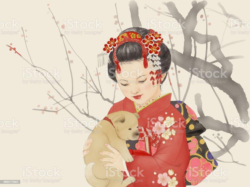 The girl who holds a puppy – artystyczna grafika wektorowa