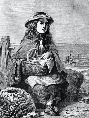 The girl with basket sitting at the beach