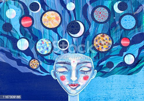 The girl with her eyes closed with planets in her hair. Horizontal illustration in fantasy authoring technique for banner, poster, print.