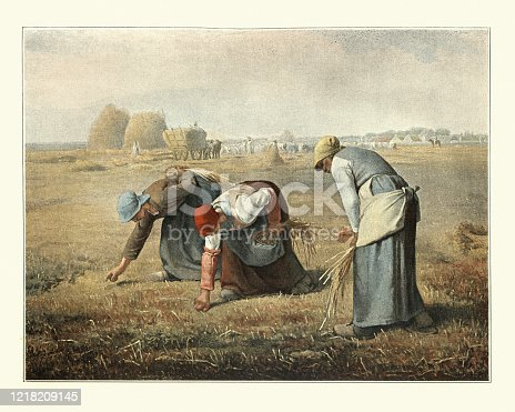 Vintage engraving of The Gleaners after an oil painting by Jean-François Millet. Three peasant women gleaning (collecting leftover crops from farmers' fields) a field of stray stalks of wheat after the harvest.