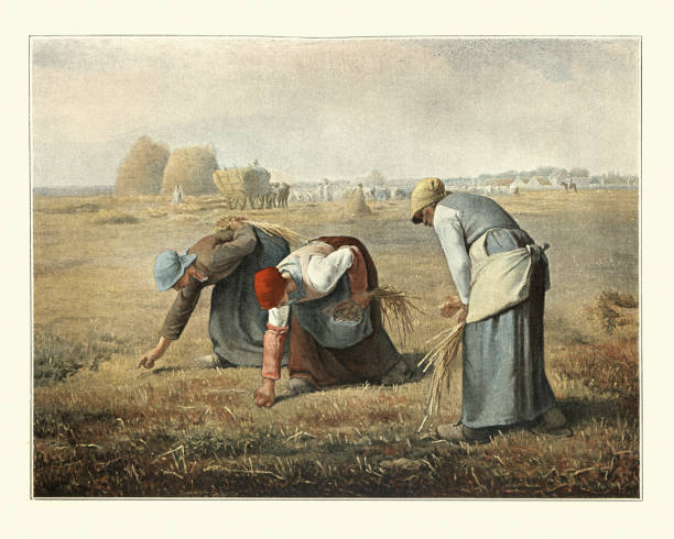 The Gleaners by Jean-Francois Millet, peasant women gleaning farmers field vector art illustration