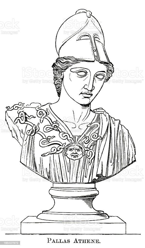 The Goddess Athena vector art illustration