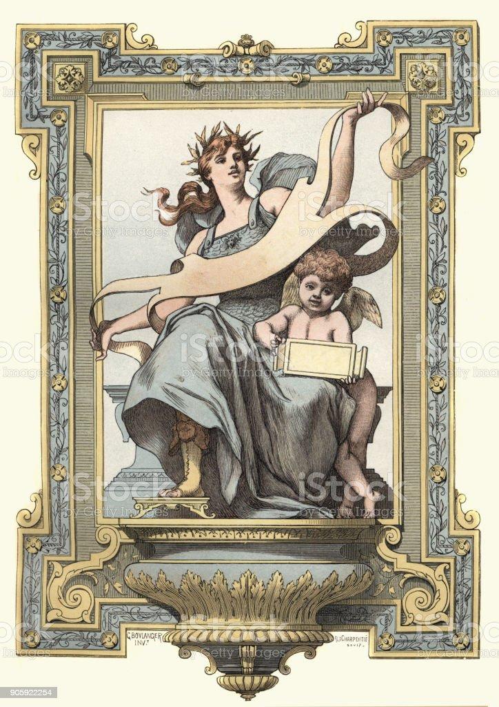 The Goddess Minerva and Cupid vector art illustration