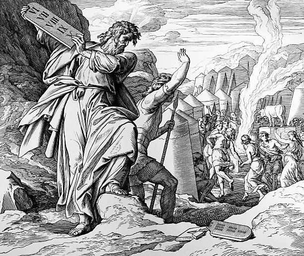 The Golden Calf Engraved by Schnorr von Carolsfeld (1860)  moses religious figure stock illustrations