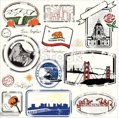 Series of stylized vintage stamps of the the state of California.