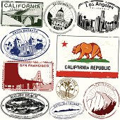 California Flag and some retro/vintage California city stamps
