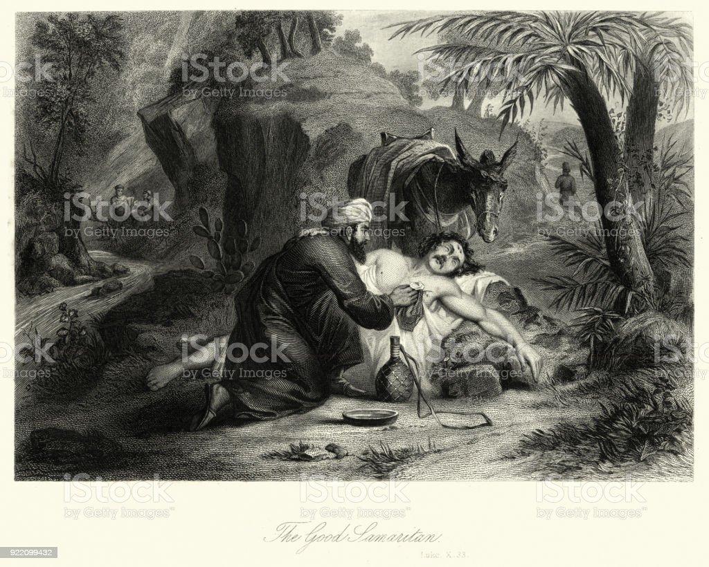 The Good Samaritan vector art illustration
