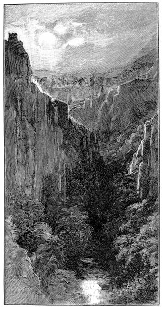 The gorge Inferno by Gaston Vuillier Illustration of  The gorge Inferno by Gaston Vuillier lake powell stock illustrations