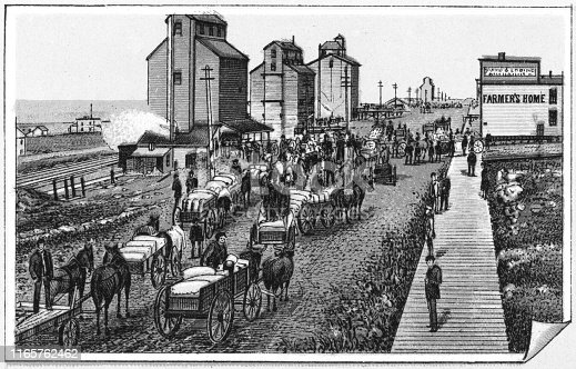 Row of people bringing carts of grain to the Grain Market in Brandon, Manitoba, Canada. Vintage etching circa late 19th century.